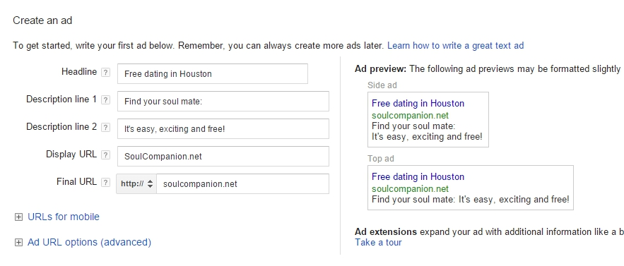 What dating sites are available in adwords